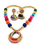GO-FOR-IT Multicolour Silk Thread Necklace with matching Earrings.
