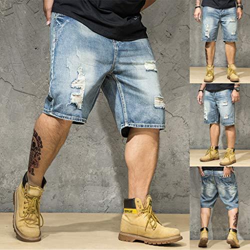 Daorokanduhp Herren Kurzjeans, Baumwolle, Sommerhose, mit gebrochenem Loch, modische Komfort-Hose für Herren, Übergröße, Herren, blau, XX-Large 20 Fleece Open Bottom Pants