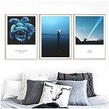 Seascape Wandbilder Leinwandbilder Poster und Kunstdrucke Nordic Poster Wandbilder für Wohnzimmer Dekor 60x80cm No Frame Blau