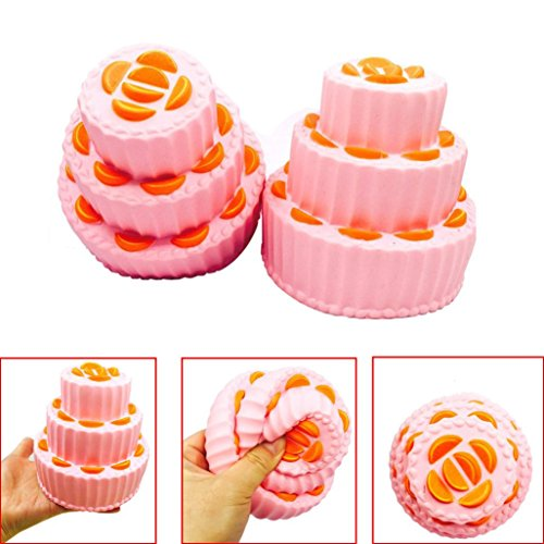 Slow Rising Squishies Orange Cake, Indexp Jumbo Simulation Squeeze Cure Toy Cream Scented Charm Kids Adults Key Cell Phone Pendant Strap Collection Gift
