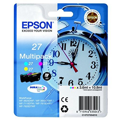 Preisvergleich Produktbild Epson original - Epson WorkForce WF-7620 DTWF (27 / C13T27054020) - 3 x Tintenpatrone MultiPack (cyan, magenta, gelb)