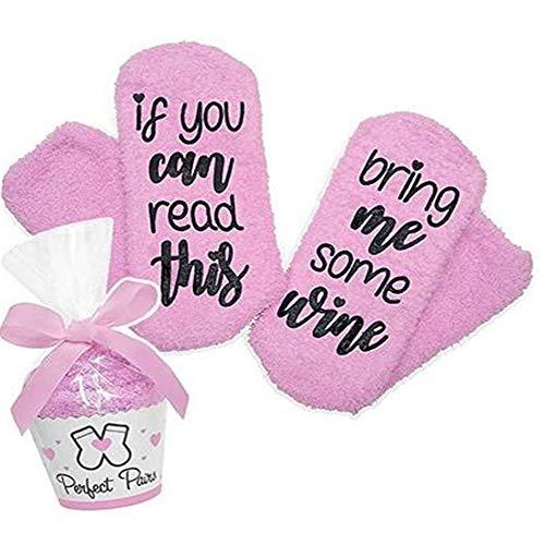 Wein-Socken/Kaffee-Socken, lustig Geschenk zum Weihnachten für Frauen witzig Geburtstagsgeschenk für Freundin, IF You CAN Read This,Bring ME Wein/Coffee, für Freundin, Mama,Oma, Schwester