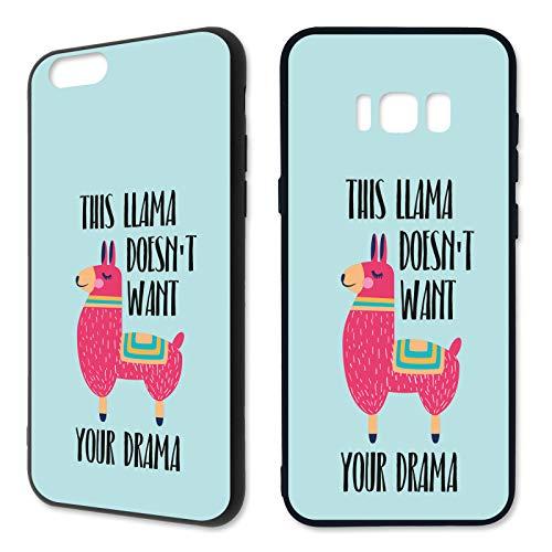 Premium Handyhülle Lama aus Silikon | Llamaste Süss Namaste Tier Comic Regenbogen Yoga Kamel Alpaka, Kompatibel mit Handy:Samsung Galaxy S7, Hüllendesign:Design 2 | Silikon Schwarz (Für Männer Dick Yoga-matten)