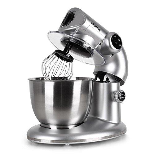 H.KOENIG KM80S Robot da cucina multifunzione mixer impastatrice. Estetica Per Albumi a punto neve, 3 pezzi, 4 velocità, Contenitore in acciaio inox di 5l, facile da pulire, 1000 W, Argento