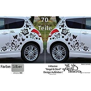 A&D design Deutschland XL Set - Autoaufkleber - Hibiskus Blumen & Schmetterlinge - 70 teilig (Silber)