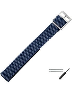 Uhrenarmband 16mm Textil Perlon blau flexibel - inkl. Federstege & Werkzeug - Durchzugsband / Perlonband mit robustem...