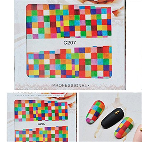 Born Pretty Water Decal Carreaux ColoršŠs Stickers Ongles Nail Art