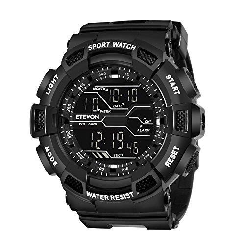 sche Sport Digitale Uhren Militär LED Licht Wasserdicht Elektronische mit Stoppuhr Timing Wecker Kalender Armee Armbanduhr - Schwarz (Watch Halloween 4 Teil 1)