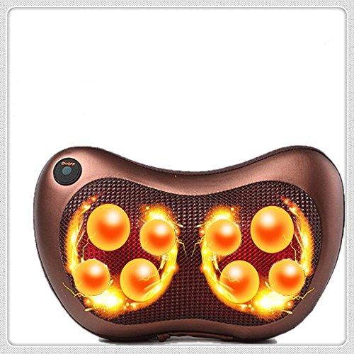 Shiatsu Massage Kissen mit vier tiefen Kneten beheizte Bälle - Auto / Büro / Home Stuhl Massagegerät geeignet für Entlasten, entspannen, beruhigen Hals / Taille / Rücken / Schulter / Abdomen / Fuß, mit Free Car Charger , 8 Massage Ball