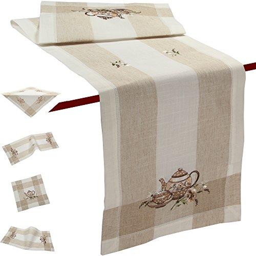 ekanne Blumen Frühling Stickerei Tischdecke Tischläufer ca. 40 x 85 cm Halb-Leinen, Beige (Esstisch Läufer Frühling)