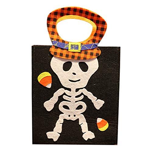 Leisial de Halloween Decoración No Tejida Lindo de Dibujos Animados Hueso Dulces Bolsa Niño Portátil Bolsa de Calabaza Bolsa de Regalo Bolsa de caramelos