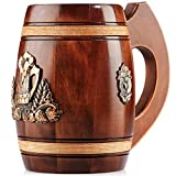 Boccale Birra Legno - in quercia - fatto a mano con sorprendente maestria e materiali di qualitŕ - foderato in metallo - Resistente - Robusto - Di Lunga Durata