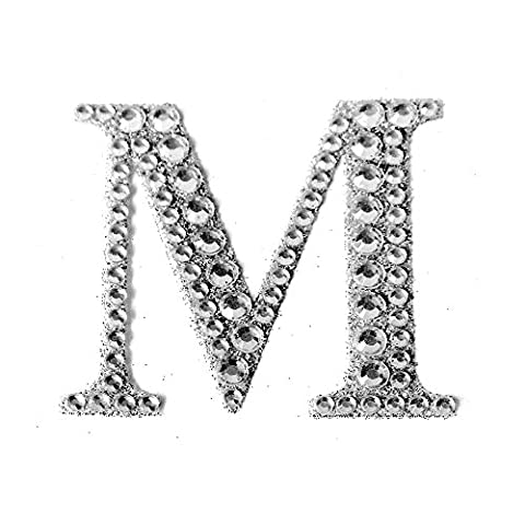 Large Self Adhesive Diamante Glitter Letters, Numbers, 5.5cm. Wedding gift favour box (letter - M)