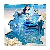Vitila Kreative Anti-Rutsch-Aufkleber Dekoration Wohnzimmer Schlafzimmer Bad Persönlichkeit 3D Wandaufkleber Meerjungfrau Selbstklebende Poster Pvc Abnehmbare Tapete