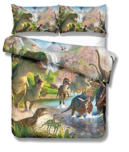 KTLRR - Juego de funda de edredón (sin edredón) de dinosaurio, poliéster, Jurassic Age, Single(135x200cm,2pcs)