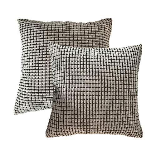 Tbing Solid Color Corn Gestreifter Dicker Kordsam-Kissenbezug für Sofa, 45 x 45 cm, Pair of Gray, 45 x 45 Centimeters -