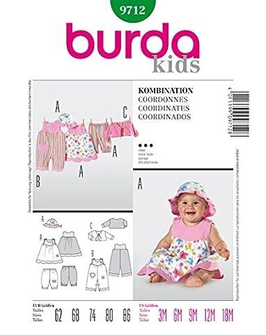 Burda 9712 Schnittmuster Overall Kleid Hose Jacke Hut (Baby, Gr. 62 - 86) Level 3 mittel