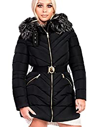 Ikrush Womens Stella Padded Faux Fur Hooded Belted Jacket