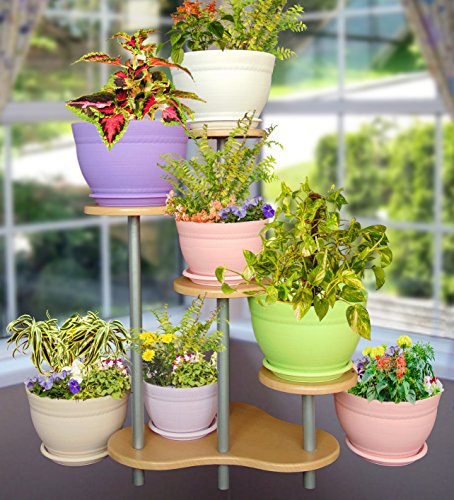 Livewell Green Elegant Indoor Flower Pot Corner Stand 28.5 Inch Tall; White...
