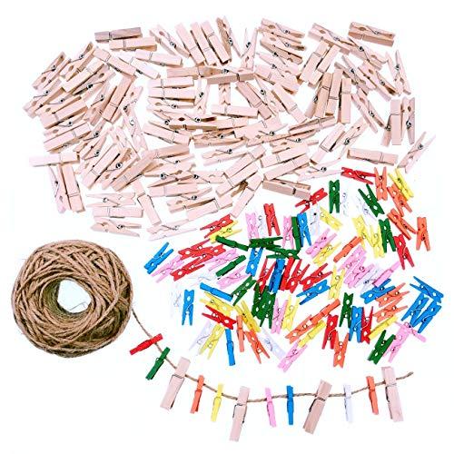 cheklammer 2.5cm + 100x Naturholz Holzklammern 3.5cm + Juteschnur 50m für Hochzeitsfeier Party Foto Basteln Scrapbooking und DIY Dekoration ()