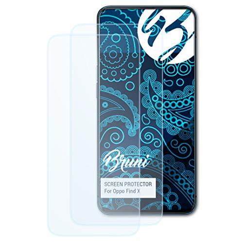 Bruni Schutzfolie kompatibel mit Oppo Find X Folie, glasklare Bildschirmschutzfolie (2X)