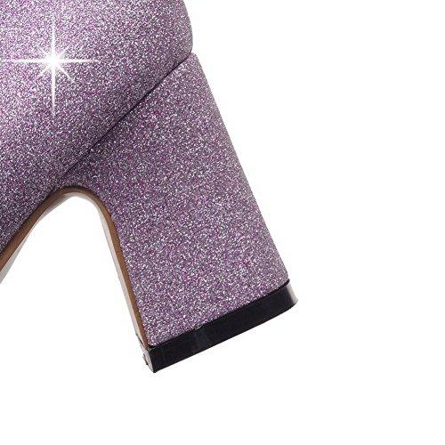 AllhqFashion Femme Matière Mélangee Pointu à Talon Correct Tire Chaussures Légeres Violet