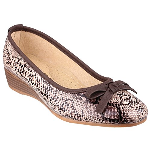 Amblers Ladies piatta Slip On Margarita scarpa Brown