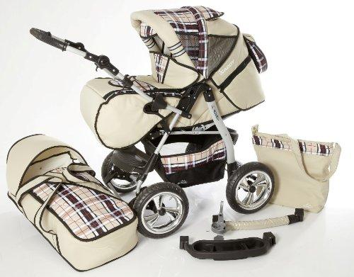 Chilly Kids iCaddy Kombikinderwagen (Regenschutz, Moskitonetz, Getränketablett, Wickelunterlage) 14 Beige & Karo