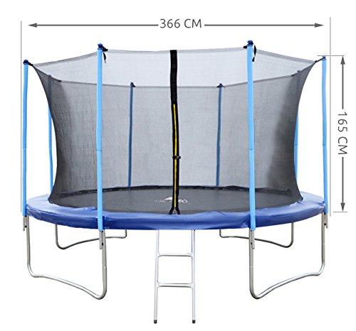 MALATEC Sicherheitsnetz für Trampoline - Fangnetz - Ersatznetz - 183 cm bis 427 cm für 6 bis 8 Stangen - Netz Innenliegend 2224, Größe:366 cm/ 8 Stangen