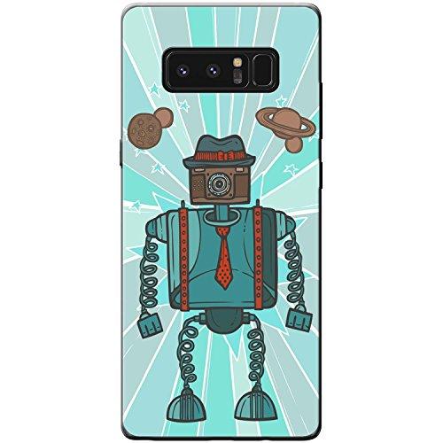 Roboter Hut & Krawatte Blau Hartschalenhülle Telefonhülle zum Aufstecken für Samsung Galaxy Note 8