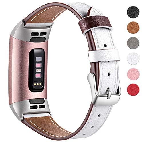 HUMENN Armband für Fitbit Charge 3 Leder Armbänder, Prämie Leder Einstellbare Ersatzband für Fitbit Charge 3, Fitness Zubehör für Männer Frauen Klein Weiße