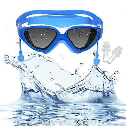 Schwimmbrille - Antibeschlag UV Schutz Schutzbrille - Triathlon Schwimmens Gläser Wasserdicht Schwimmbrillen mit Einstellbarer Kopfriemen Aufbewahrungsbox und Ohrstöpseln für Männer Frauen Erwachsene
