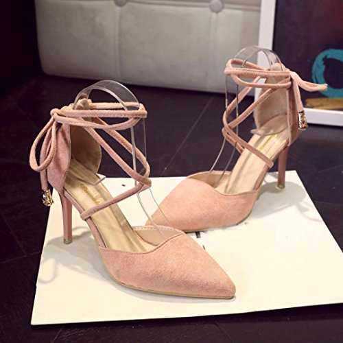 Hunpta Sommer Gladiator Frauen Sandalen Knöchelriemen High Heels Shallow Tied Schuhe Rosa