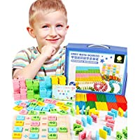 KangRuiZhe Montessori Digital domino 200pcs Children Counting Stick 100pcs Calculation Math Educational Toy Wooden Number Cards and Counting with Box