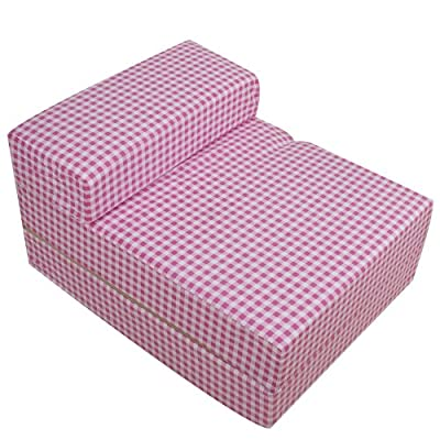 Pink White Gingham Check Foam Fold Out Sleep Over Guest Single Z Futon Sofa Bed