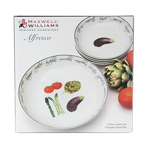 Fitz et Floyd 5 pièces Maxwell et Williams Alfresco plaques de pâtes, Blanc