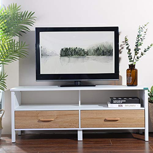 Bakaji mobile mobiletto tv in legno credenza con base televisione scomparti e 2 cassetti dimensione 120 x 38 x 47 cm colore bianco e legno naturale design moderno