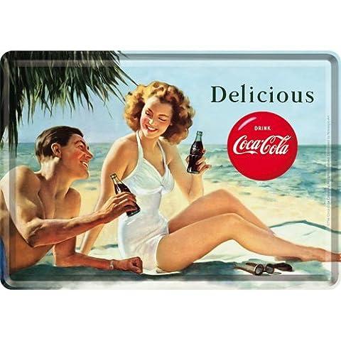 Plaque en metal 10 x 14 cm - Coca-Cola - Beach Couple