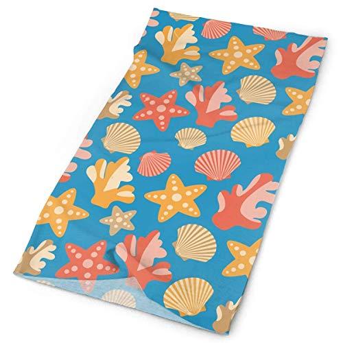 Outdoor Multi-use Elastic Seamless Headband Starfish Corals Scallops Shells Bandana Headwrap Headscarves Fashion Magic Scarf 9.8 X 19.5 inch Crystal Scallop