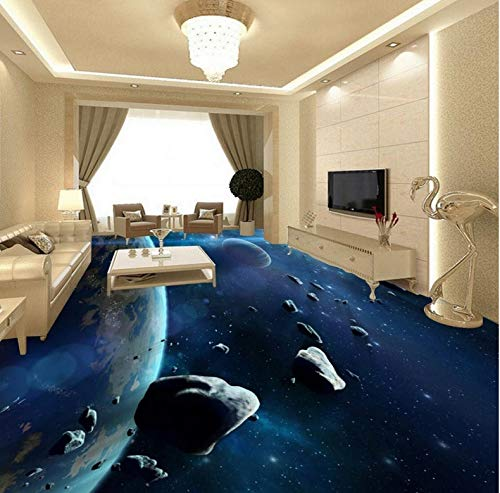 Himmlisches Bad (Yosot Meteorit Raumschiff 3D Himmlisches Bad Anti-Rutsch Verdickt 3D Bodenbelag Wandbild Wohnzimmer Tapete-450Cmx300Cm)
