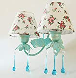 Nachttischlampe Wandlampe Schlafzimmer mediterran ländlichen Stil Schmiedeeisen Blumen und Laternen Prinzessin Zimmer Treppen Wandleuchte,Farbe,Doppelter Kopf HYW