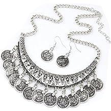Webla Jewelry Set Las mujeres Vintage Chokers Collares Moda Étnica tallada monedas Niza collares y pendientes