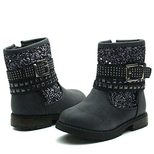 SB110 Studio BIMBI Baby Boots w/zip Mid Calf for Girls >      > Bébé milieu des bottes avec zip pour les filles Pewter (argent)