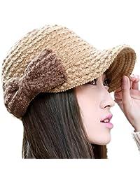 Smarstar Dame Chapeau Hiver chaud tricot crochet Slouch Baggy Béret Bonnet Cap avec nœud papillon -Taille Unique-Kaki