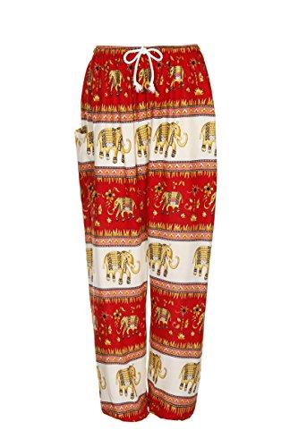 Haremshose - Aladdin Hippie Hose mit Taillenschnürung Elephant Band Orange