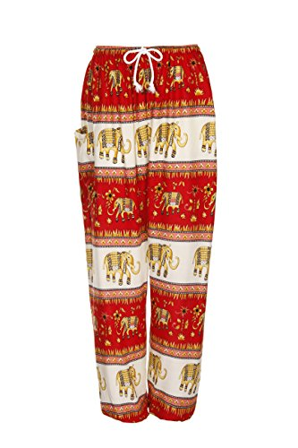 Haremshose - Aladdin Hippie Hose mit Taillenschnürung Gr. One size , Elephant Band Orange (Band-thai Pants Fisherman)
