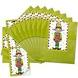 10 kleine grüne Papiertüten Weihnachtstüten (9,5 x 14 cm) + 10 kleine rot weiß Banderolen Weihnachts-Aufkleber zum Wichteln (5 x 15 cm) (14295) für Kinder und Erwachsene