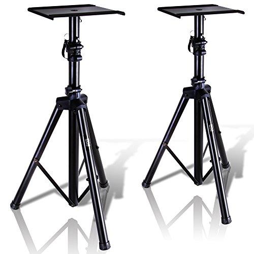 Pyle Dual Studio Monitor 2 Lautsprecher Ständer Mount Kit - Heavy Duty Dreibeinstativ Paar und Höhe verstellbar von 86,4 cm zu 134,6 cm W/Metall Plattform Boden - PSTND32
