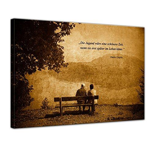 Bilderdepot24 Leinwandbild mit Zitat – Die Jugend wäre eine schönere Zeit, wenn sie erst später im Leben käme. – (Charlie Chaplin)