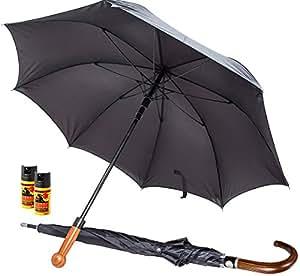 """SDG-DEFENCE Selbstverteidigungs-Regenschirm """"Security-Shield"""" mit Echtholz-Griff (Knauf) inkl. 2x """"Dragon"""" Pfefferspray"""